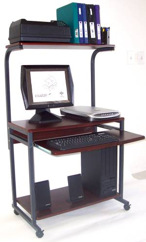 narrow small 24 inch wide tower computer cart with printer shelf