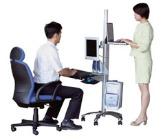 Sit to stand ergonomic computer workstation