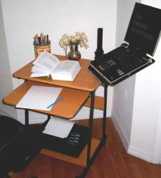 computer desk with laptop arm