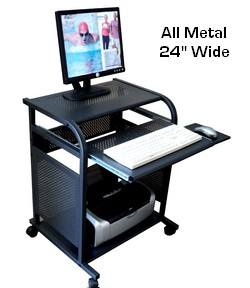 24 Inch Narrow Black All Metal Computer Cart Portable Small Mobile Desk Made 100