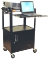 Sit or Stand computer desks & carts. Height adjustable, portable workstations for presentations, standing processing, trade shows, medical centers, etc... Open and steel lockable cabinets.