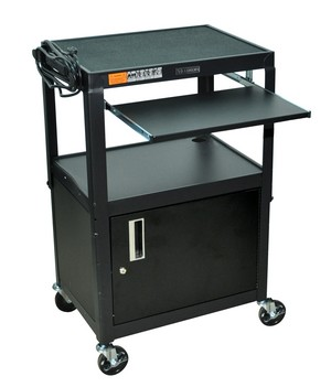 All steel mobile sit stand portable rolling computer workstation with lockable cabinet, keyboard tray, height adjustable, in black, for school, library, medical applications, as computer desk, cart for presentations, storage,trade shows, etc...