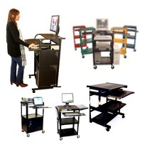 This category includes metal computer carts, metal computer desks, steel computer stands, computer cabinets. 100% metal computer furniture. Our new line of compact computer carts is 100% made of steel, powder coated in saton black paint. Sturdy, durable, compact and portable. Used in all environments: office, school, industry, medical centers, home-office. Includes rolling sit and standing computer desks & carts, as well as height adjustable computer carts and fixed wall-computer workstations. Also downview metal-glass computer desks