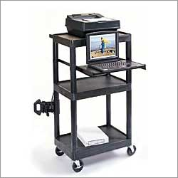 LT45 black computer desk for stand up operation for presentations, medical cart, as school clasroom computer furniture or industry in general.