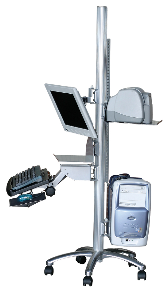 flat panel LCD monitor pole computer cart