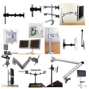 VESA LCD mounts, Flat panel wall mounts, LCD TV stands, LCD pole mounts, multiple lcd stands, dual, quad lcd stand, clamp on, grommet, Flat panel plasma LCD wall mounts, articulating LCD mounts, adjustable LCD arm mount, lcd desk stands & mounts, lcd mount bracket,and more...