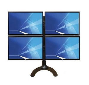 Quad LCD Monitor Stand with sliding brackets to eliminate gap between monitors