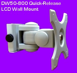 LCD Wall mount with a 100 x 100 and 75 x 75 VESA hole pattern. Easily install to wall and release in seconds. Titls, swivels & rotates. For motitors up to 25 inch and 25 lbs. On sale.
