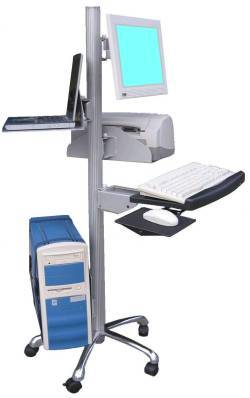 VC-01 Flat panel LCD monitor pole mount computer cart