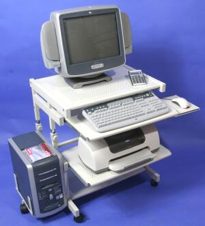 mini metal computer workstation cart