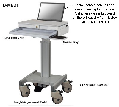 medical height adjustable laptop computer cart stand - height adjustable
