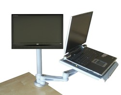 articulated laptop tray - keyboard - lcd combo arm with clamp for desk or wall mounting