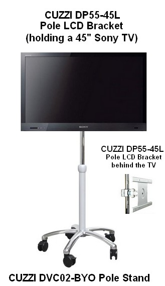 TV Computer Portable Rolling Pole Trolley Cart with 45 inch TV