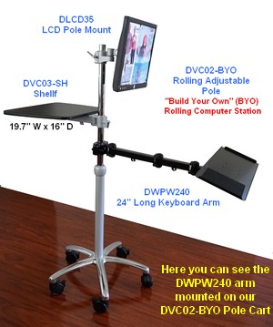 install a keyboard arm and tray to a pole or wall; wall keyboard arm