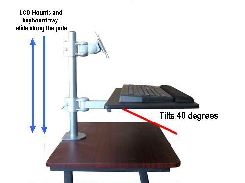 Pole mounted keyboard tray with mouse tray, for 35 mm diameter poles