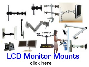 lcd monitor mounts, vesa monitor bracket, dual lcd stand, quad lcd stand, lcd pole computer cart, wall lcd monitor mount, bracket