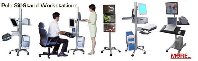 Sit to Stand computer pole cart, rolling computer LCD workstations, height adjustable LCD Medical trolley, portable LCD Monitor computer stations, rolling pole computer cart, Height adjustable mobile pole computer carts