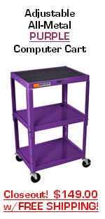 24 inch height adjustable purple all metal mobile computer cart, utility steel cart; commercial grade mobile metal computer desk on SALE
