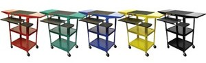 all metal 24 inch height adjustable computer workstation: narrow, compact,  4 inch wheels, mouse tray and pull-out keyboard tray, in yellow, blue, green, red, black