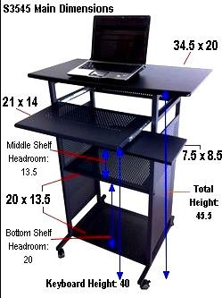 Standing Computer Desk 35 Inch Wide Stand Up For Using A In Position On Inspiration Decorating
