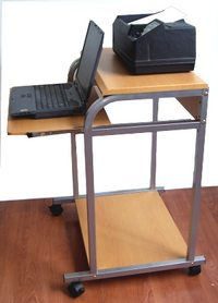portable 24 inch wide compact computer cart with printer shelf