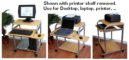 narrow computer cart for small spaces, can be used as a corner desk