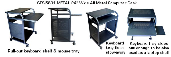 black steel compact computer desk and cart narrow small computer desk in black black metal computer desk