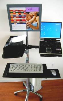 LCD Monitor Computer Pole cart - heigh tadjustable post