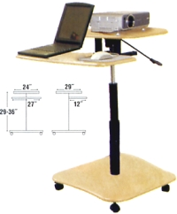 rolling adjustable height computer desk
