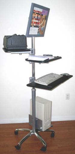 lcd monitor computer pole cart; height adjustable pole; VESA mount